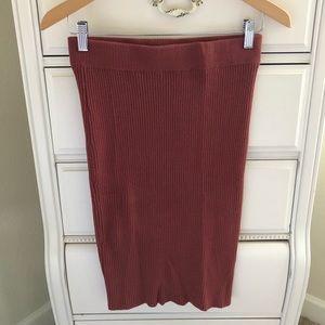 GLAMOROUS knit mid length skirt in burnt orange